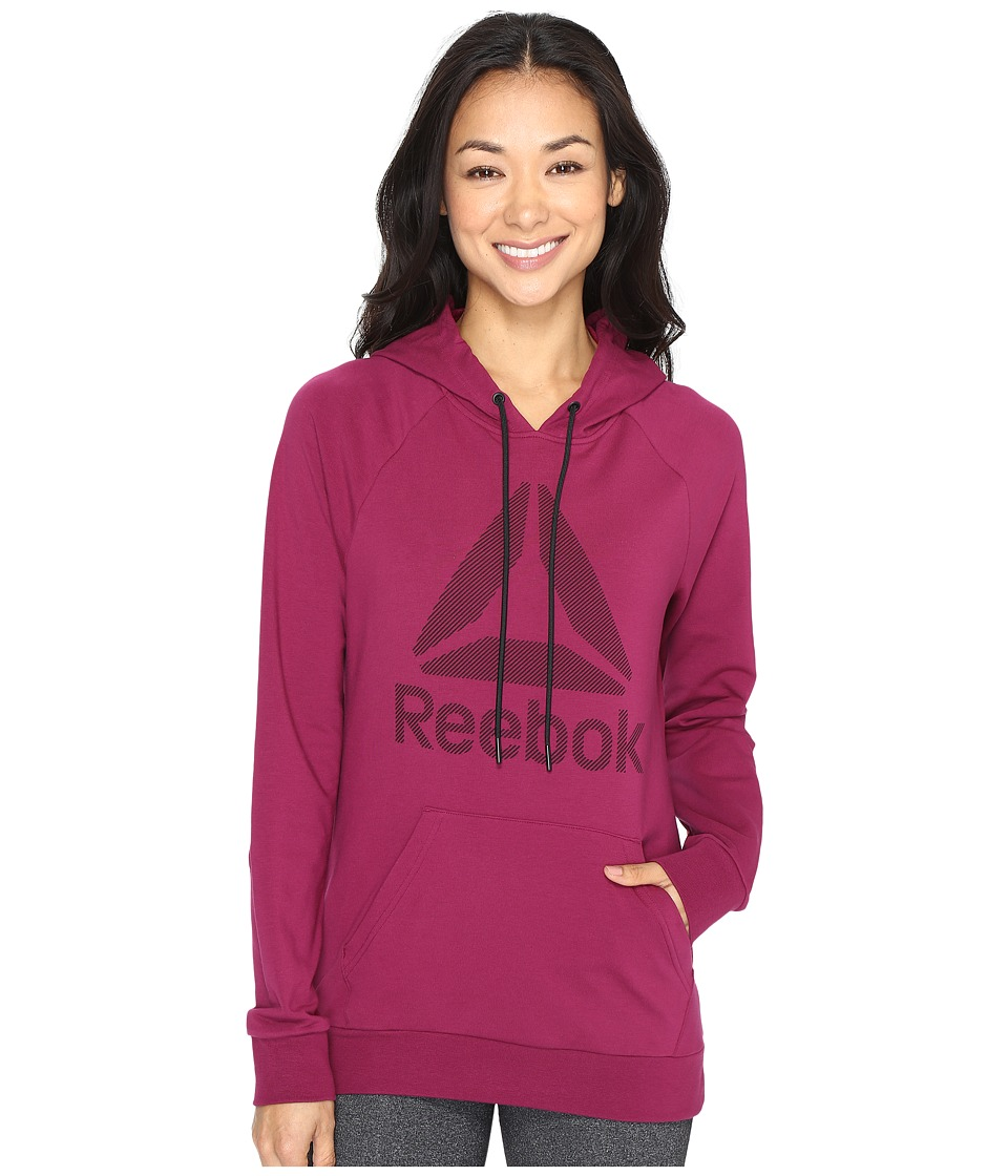 Reebok Workout Ready Big Stacked Logo Pullover (Red) Women
