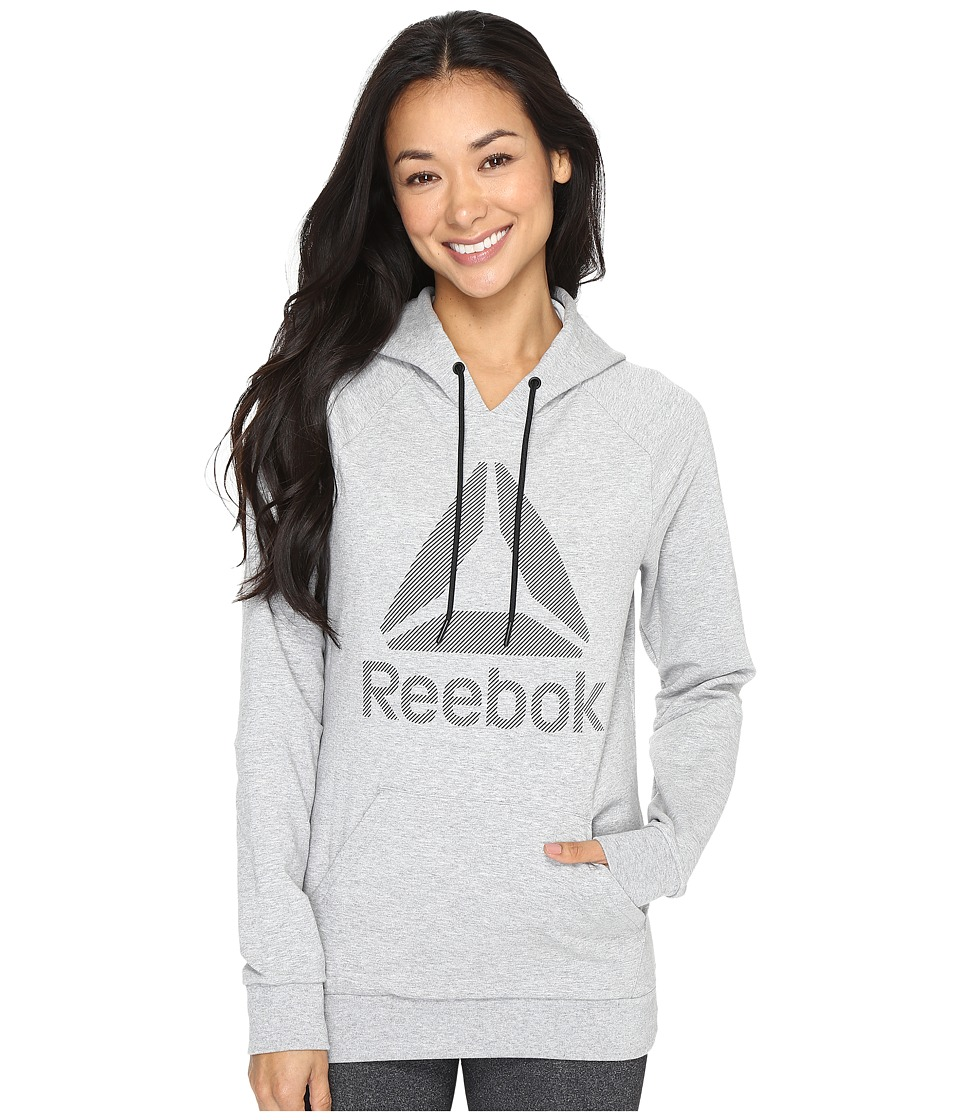 Reebok - Workout Ready Big Stacked Logo Pullover (Grey) Women's Sweatshirt
