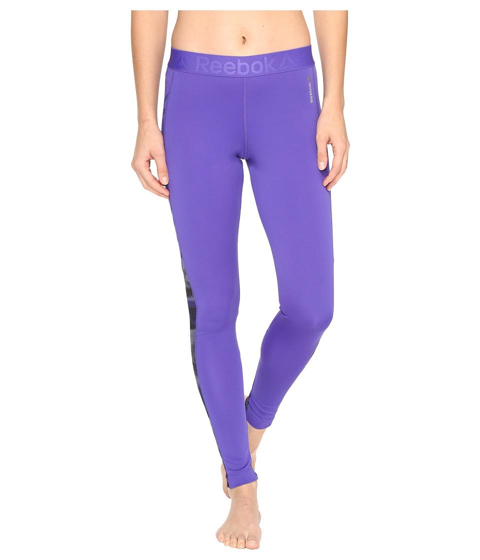 Reebok - Workout Ready Mesh Logo Tights (Purple) Women's Clothing