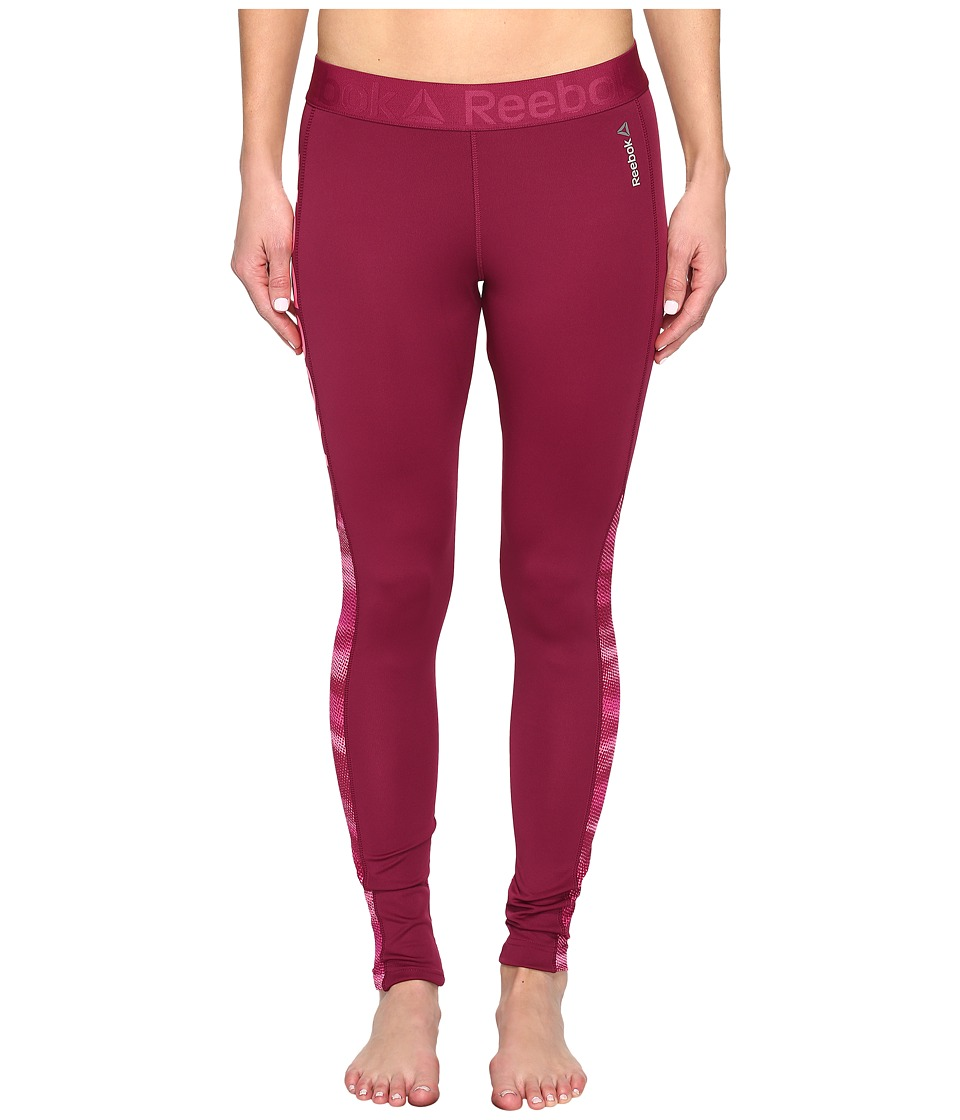 Reebok - Workout Ready Mesh Logo Tights (Red) Women's Clothing