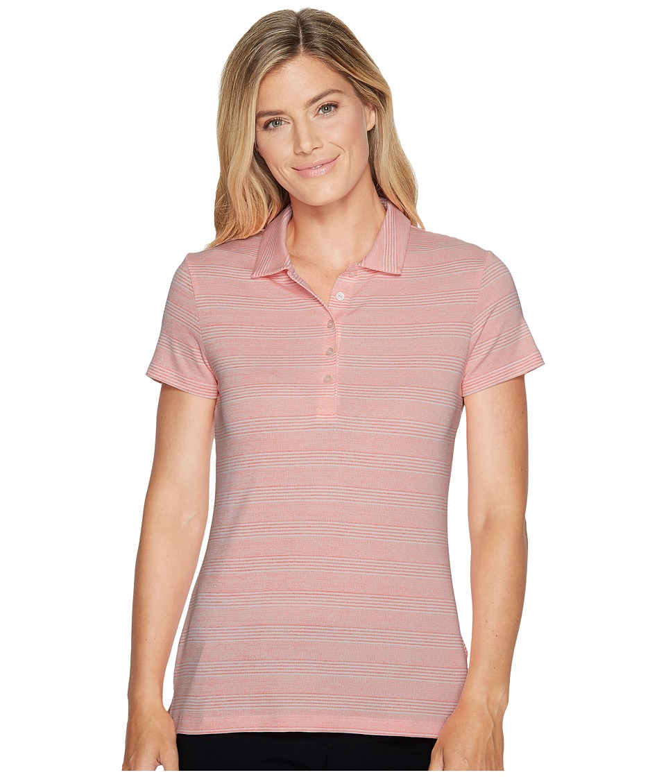 PUMA Golf - Heather Stripe Polo (NRGY Peach) Women's Short Sleeve Pullover