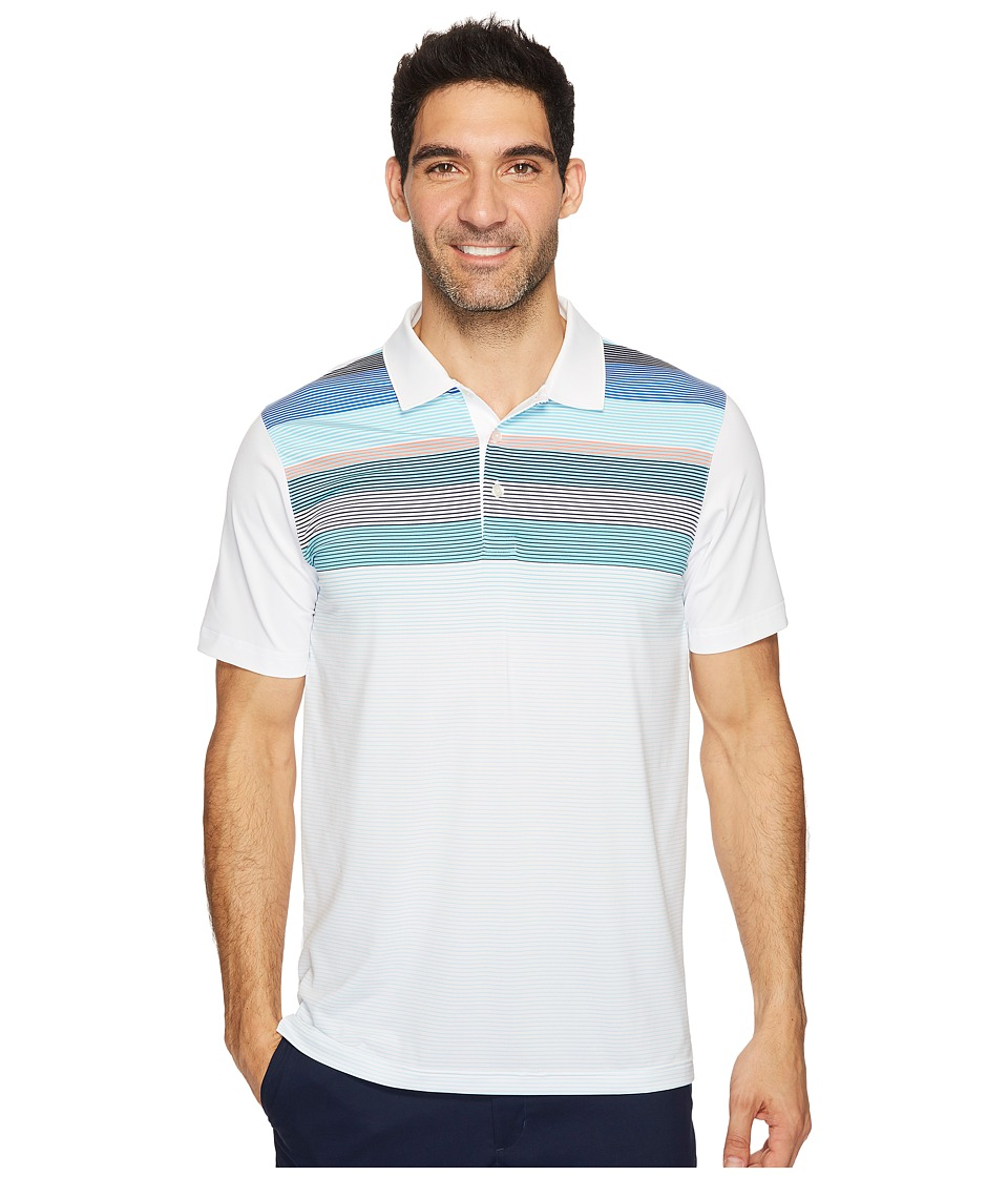 PUMA Golf - Go Time Road Map Polo (Bright White/Turquoise) Men's Short Sleeve Knit