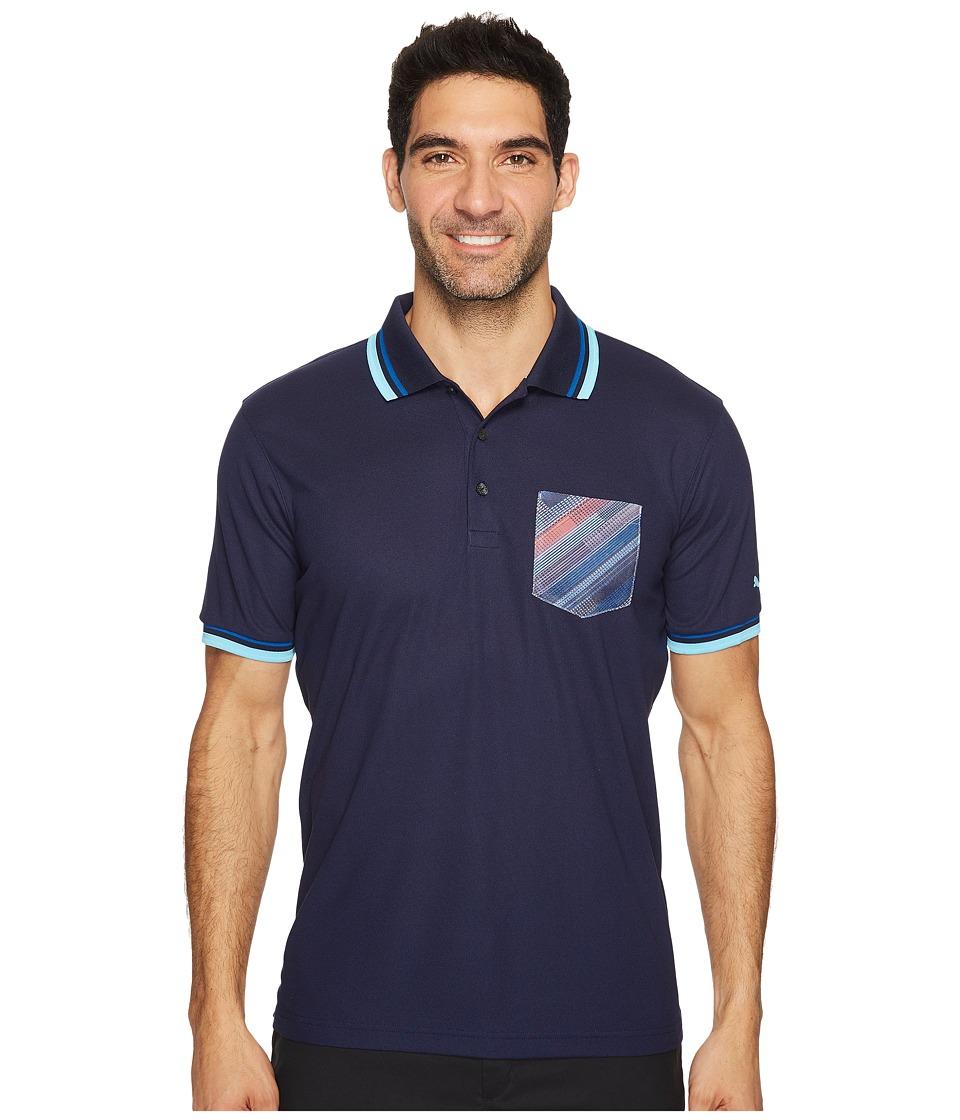 PUMA Golf - Pixel Pocket Polo (Peacoat) Men's Short Sleeve Knit