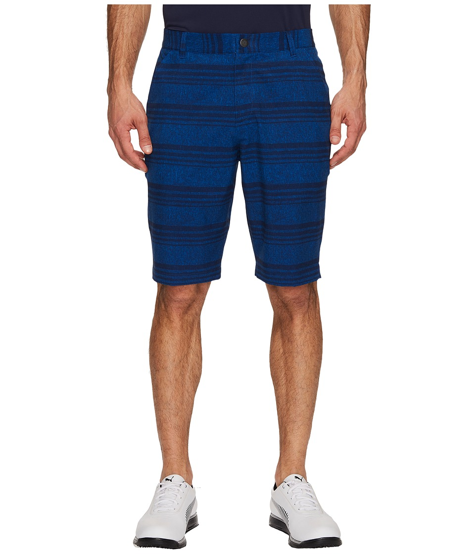PUMA Golf Stretch Heather Stripe Shorts (Peacoat) Men