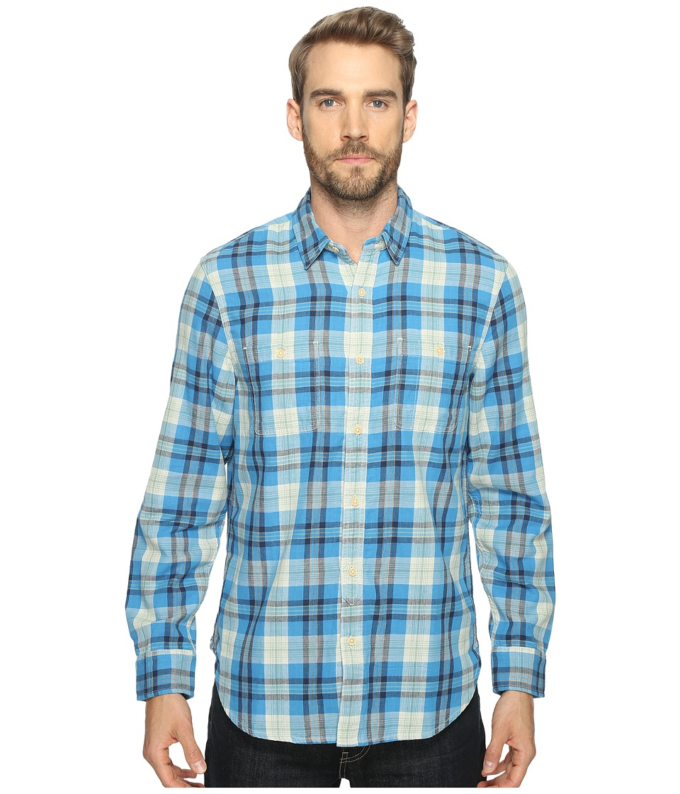 Lucky Brand - Mason Workwear Shirt (Blue/Green) Men's Long Sleeve Button Up