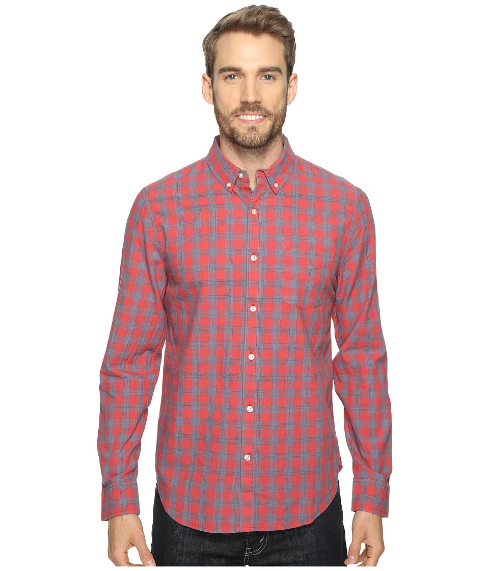 Lucky Brand - Washed Black Label Shirt (Red Blue) Men's Long Sleeve Button Up
