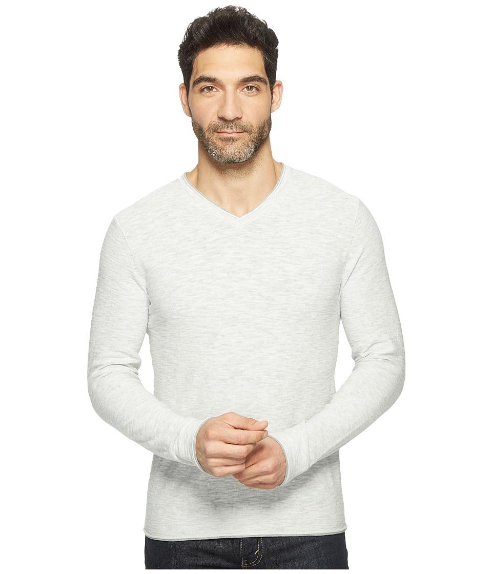 Lucky Brand - Spring Weight Slub V-Neck (Heather Grey) Men's Clothing