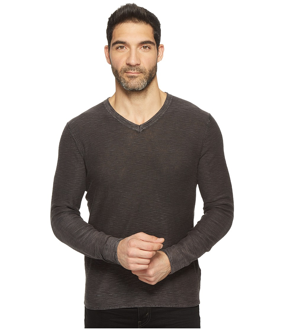 Lucky Brand - Spring Weight Slub V-Neck (Jet Black) Men's Clothing