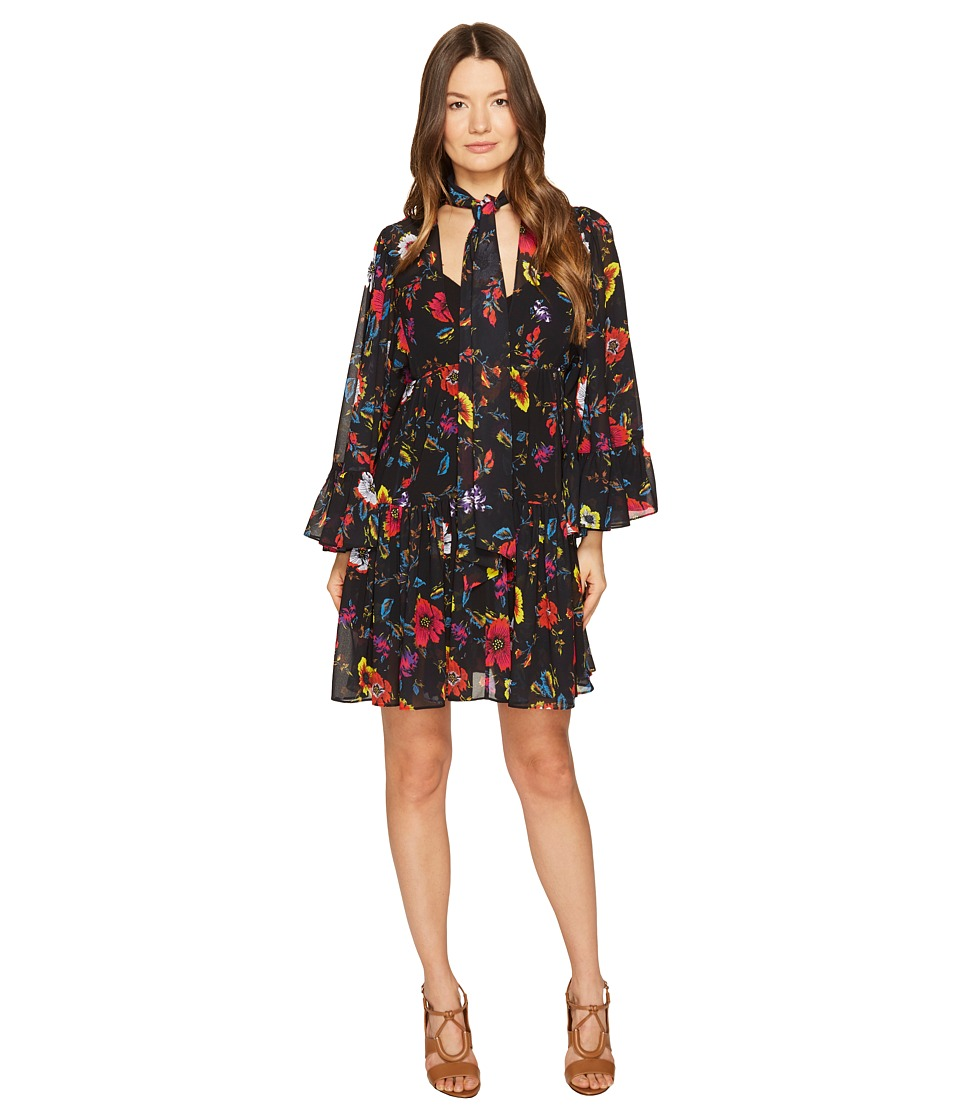 McQ - V-Neck Short Volume Dress (Acid Floral) Women's Dress