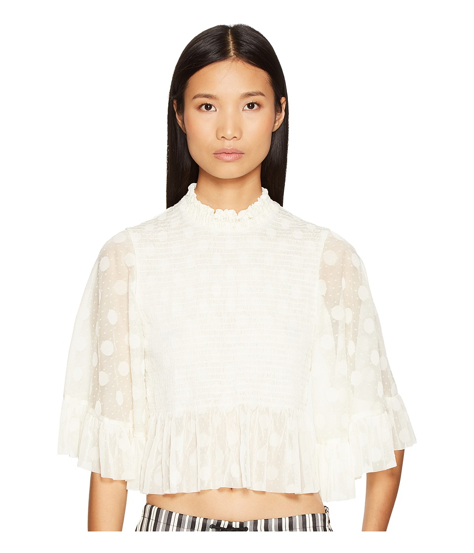 McQ - Smocked Ruffle Top (Ivory) Women's Clothing