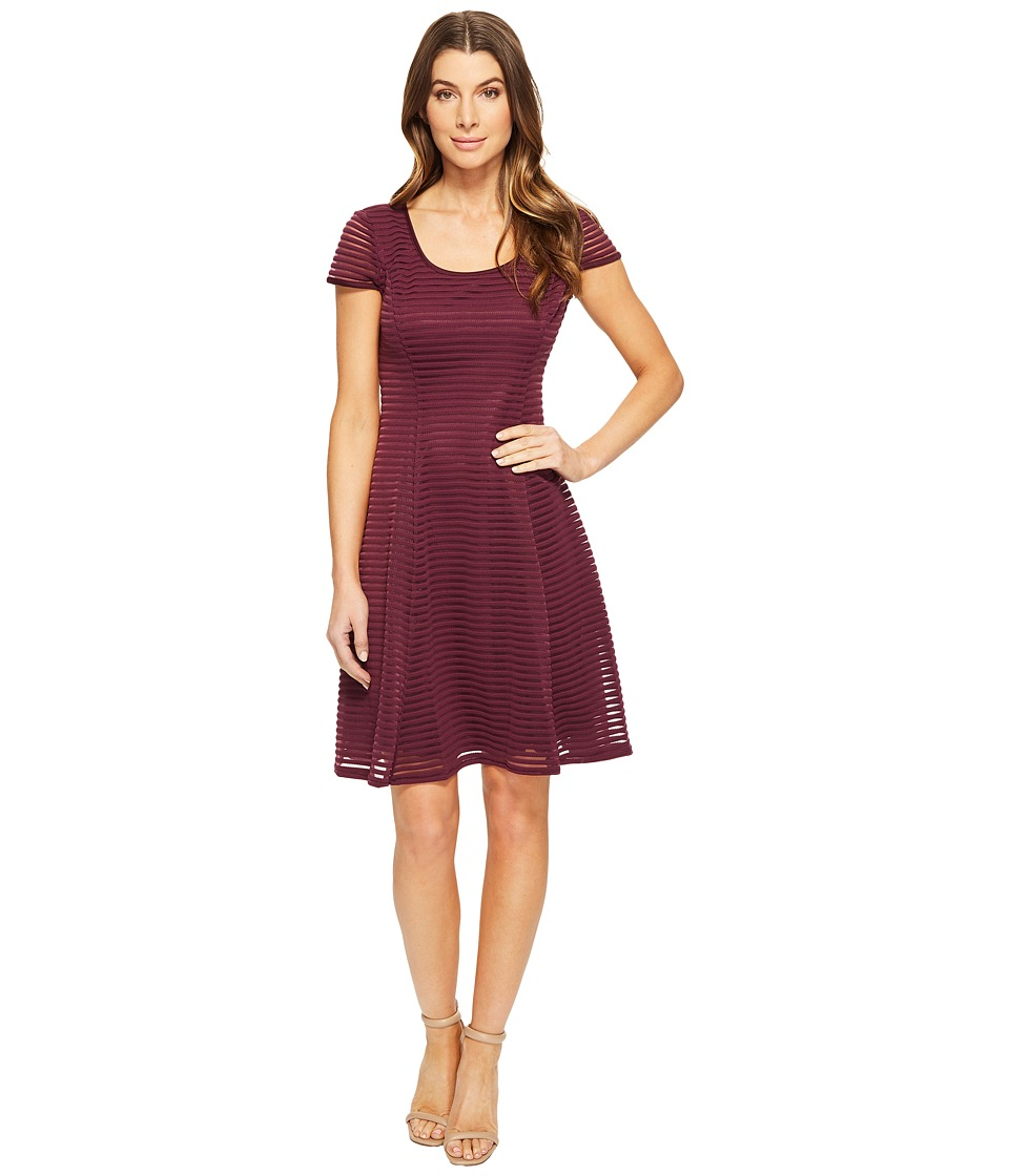 London Times - Stripe Mesh Fit Flare Dress (Wine) Women's Dress