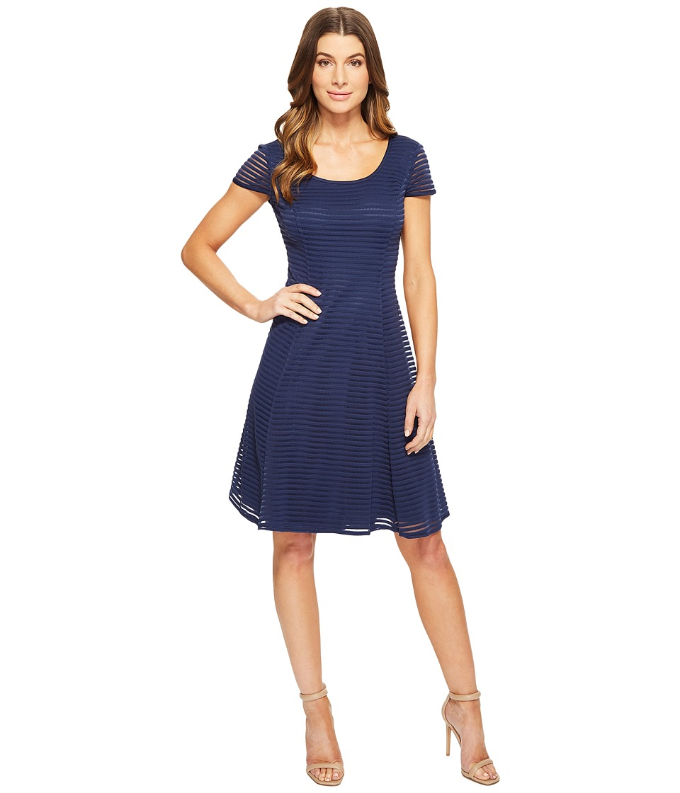 London Times - Stripe Mesh Fit Flare Dress (Navy) Women's Dress