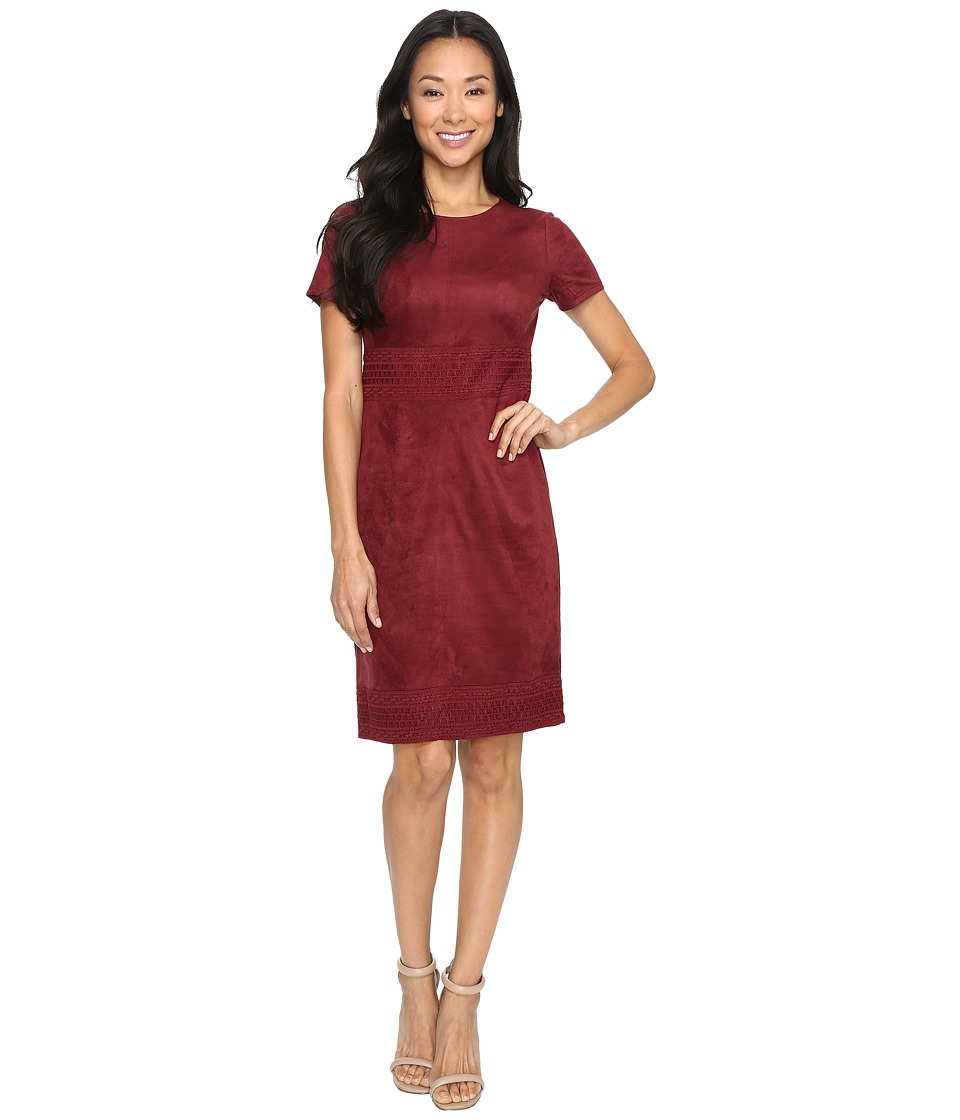 London Times Lace Border Fitted Midi Dress (Wine) Women