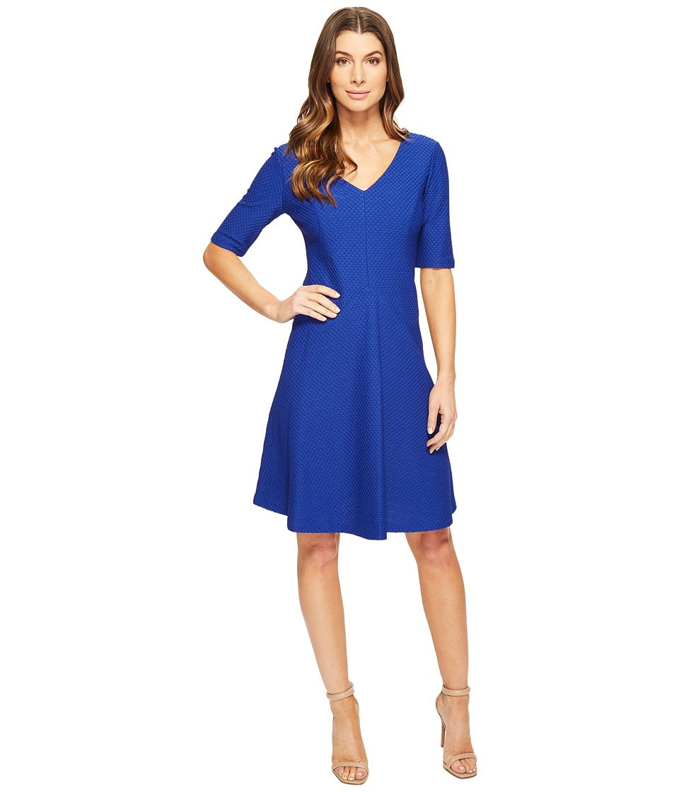 London Times Elbow Sleeve Fit Flare Dress (Blue) Women