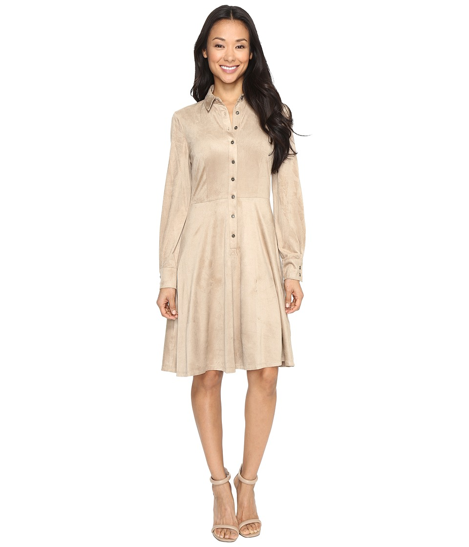 London Times - Suede Shirtdress (Buff) Women's Dress