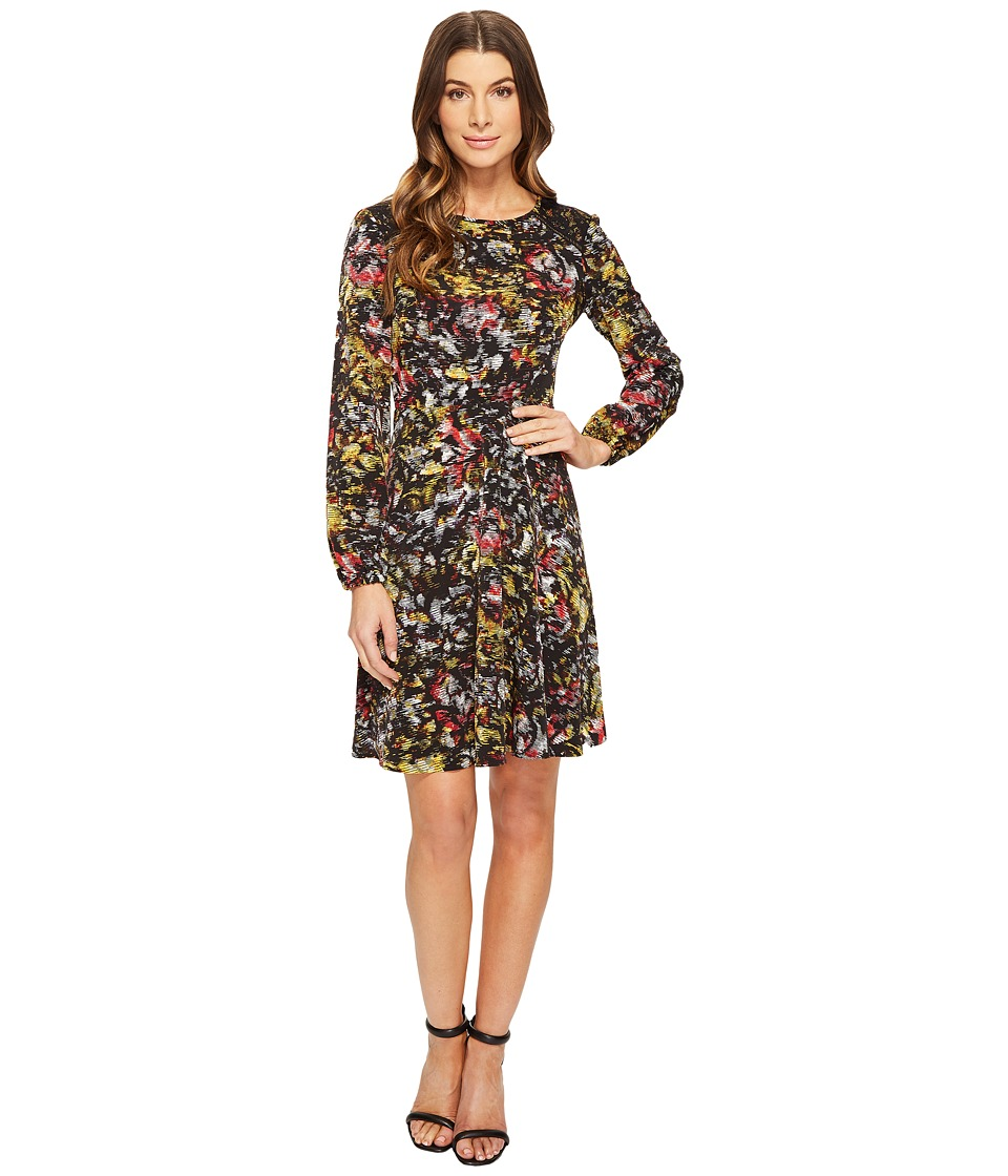 London Times - Sketch Flower Full Skirt Dress (Black/Red) Women's Dress