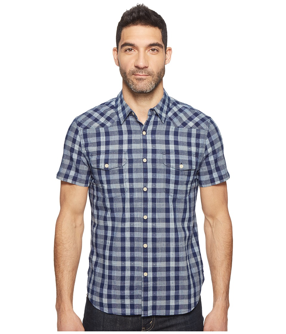 Lucky Brand Short Sleeve Western Shirt (Blue/White) Men