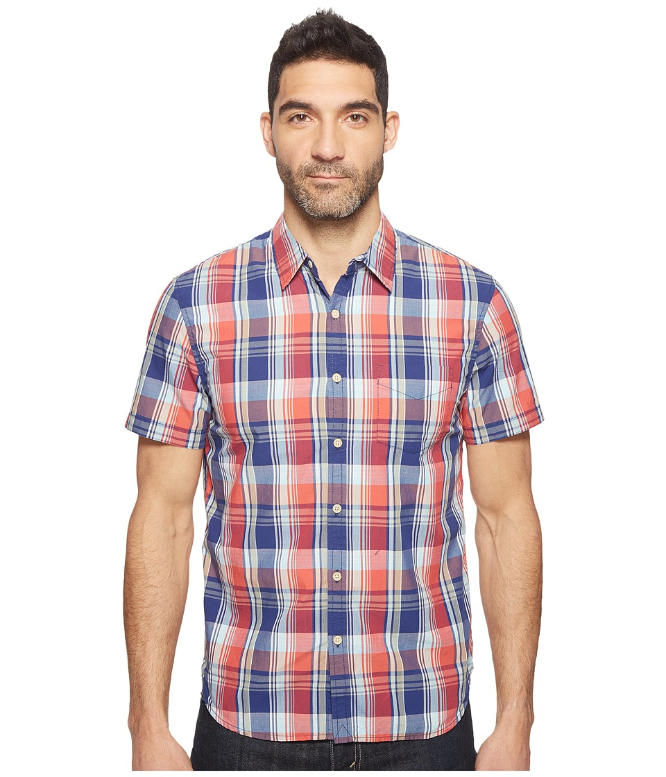 Lucky Brand Short Sleeve Ballona Shirt (Blue/Orange) Men