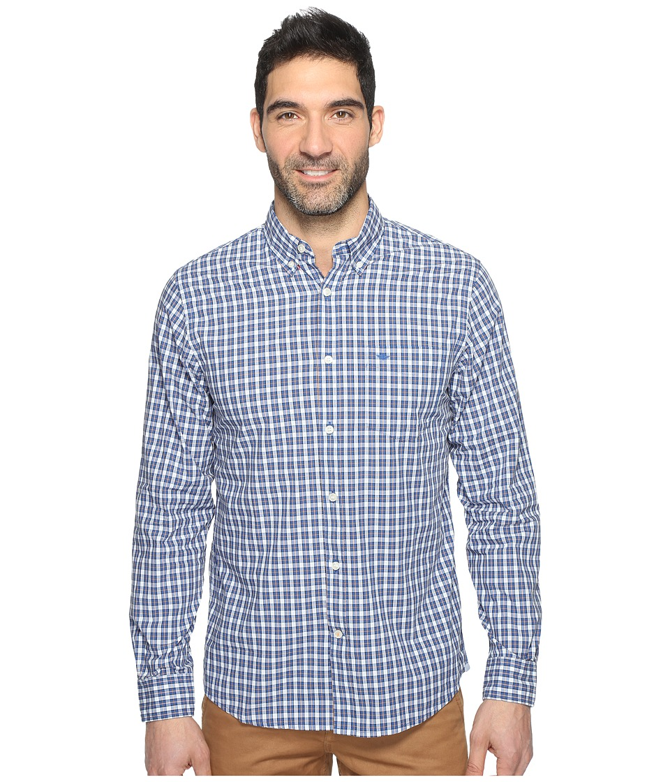 Dockers Premium - Essential Poplin Long Sleeve Standard Fit (Blue Plaid) Men's Clothing