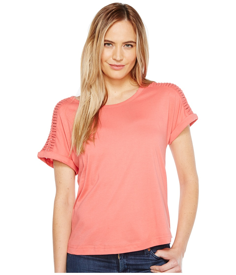 B Collection by Bobeau - Nash Macrame Detail T-Shirt (Coral) Women's T Shirt