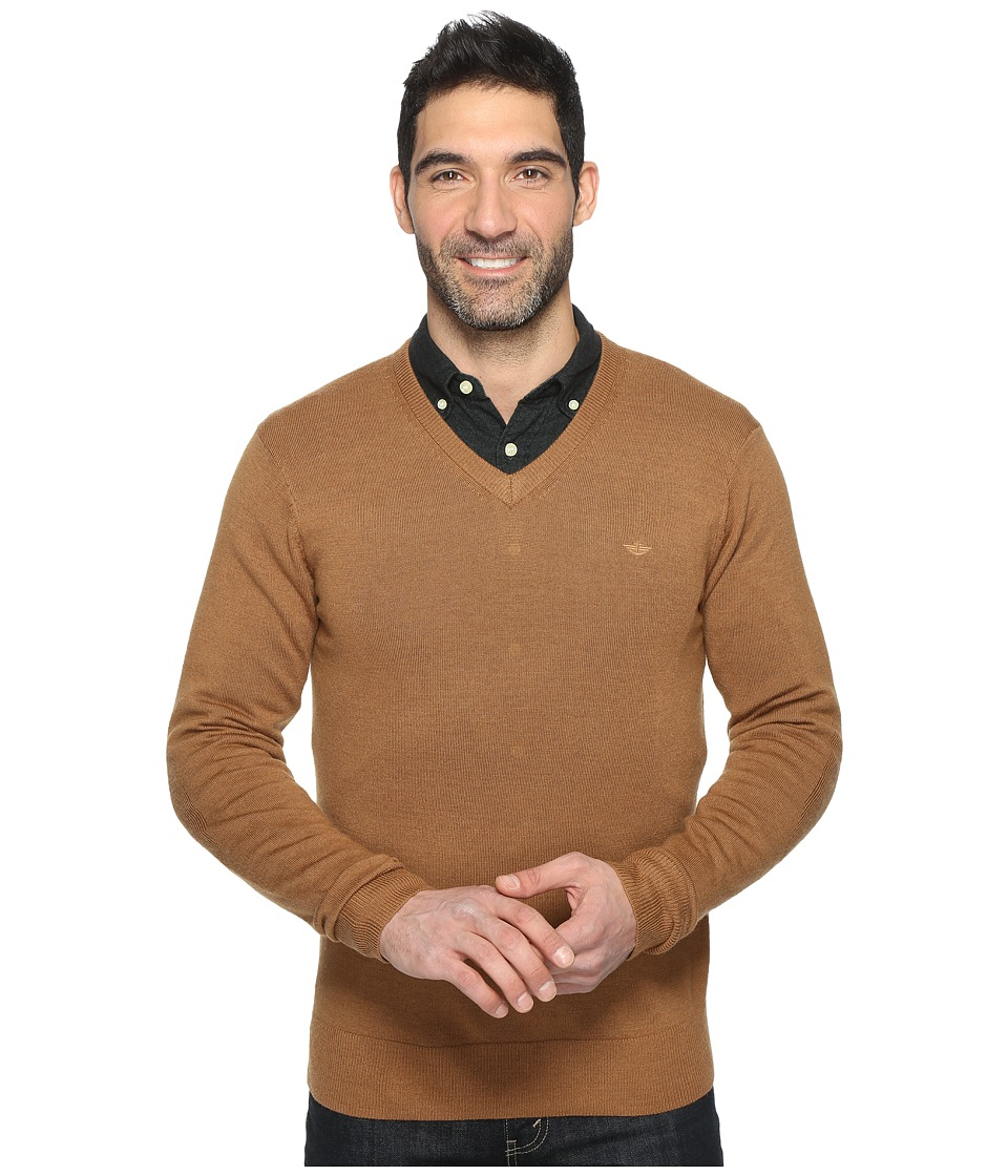 Dockers Premium Merino V-Neck (Warm Camel) Men