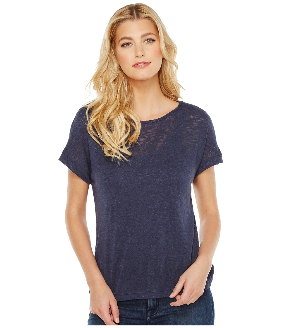 B Collection by Bobeau - Valerie Dolman Mixed Media T-Shirt (Navy) Women's T Shirt