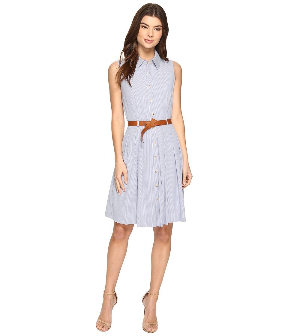 Tahari by ASL - Linen Stripe Dress with Belt (Ivory/Blue) Women's Dress