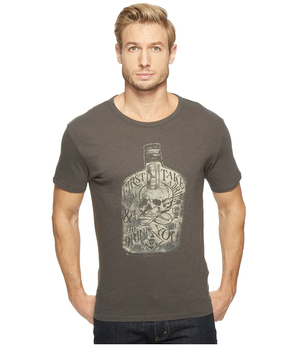 Lucky Brand - First You Take A Drink Graphic Tee (Black Mountain Slub) Men's T Shirt