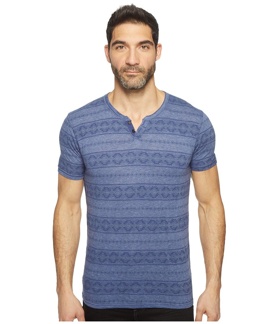 Lucky Brand - Intarsia Button Notch Tee (Twilight Blue) Men's T Shirt
