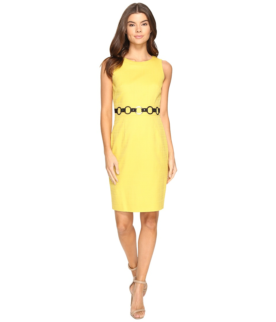 Tahari by ASL - Basket Weave Sheath Dress with O-Ring Belt (Goldenrod) Women's Dress