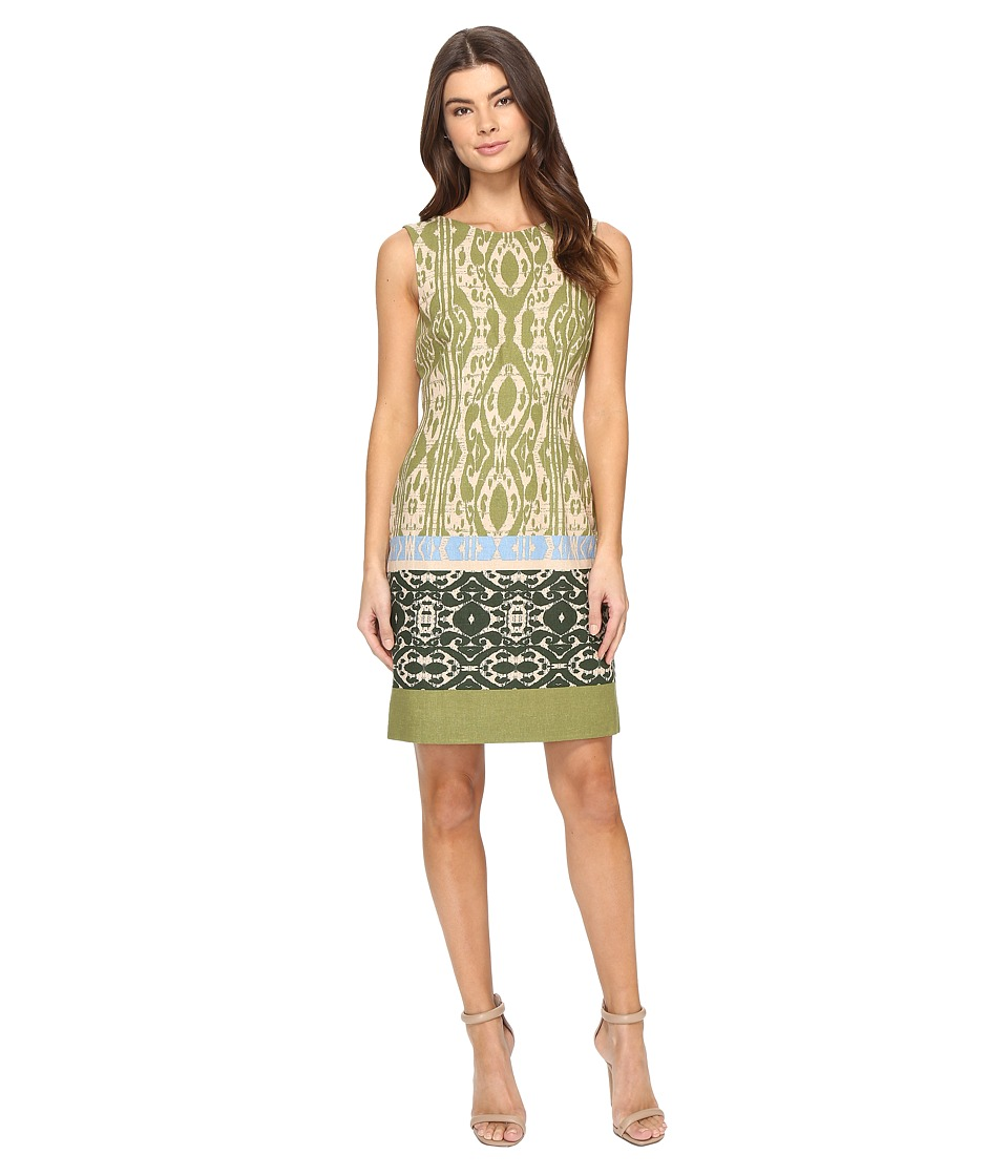 Tahari by ASL - Ikat Linen Sheath Dress (Natural/Olive/Peri) Women's Dress