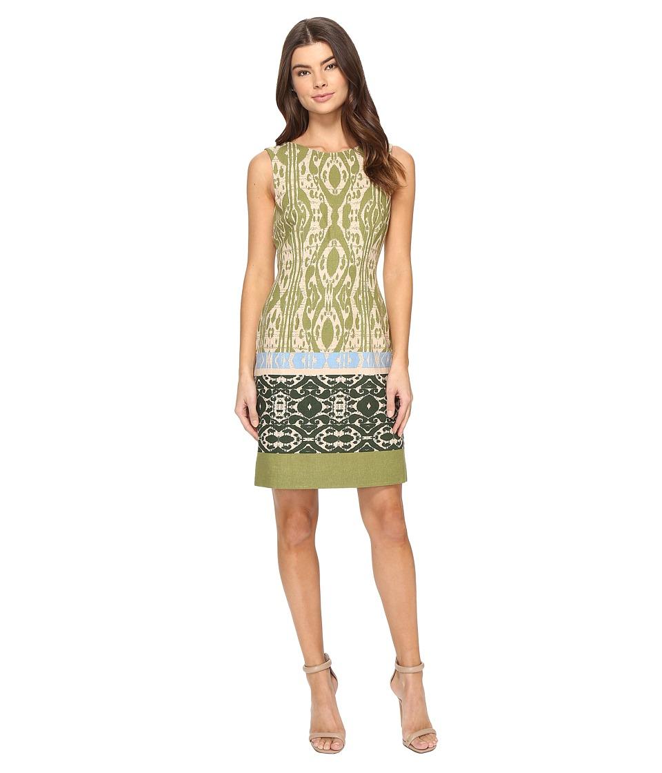 Tahari by ASL - Ikat Linen Sheath Dress (Natural/Olive/Peri) Women's Dress