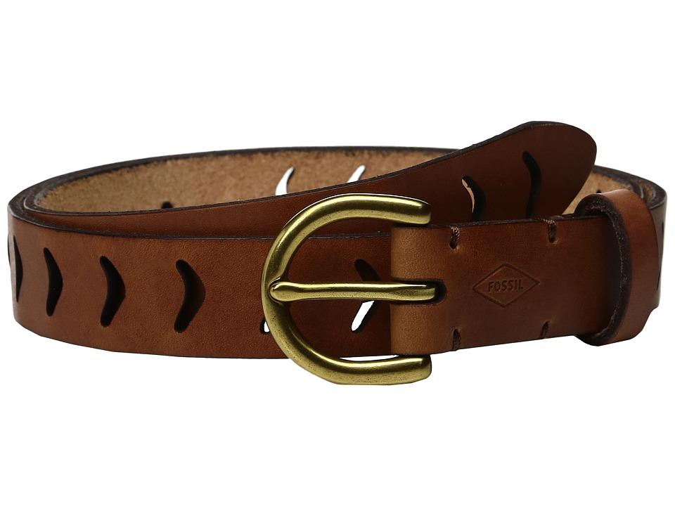 Fossil - Arrow Perf Belt (Tan) Women's Belts