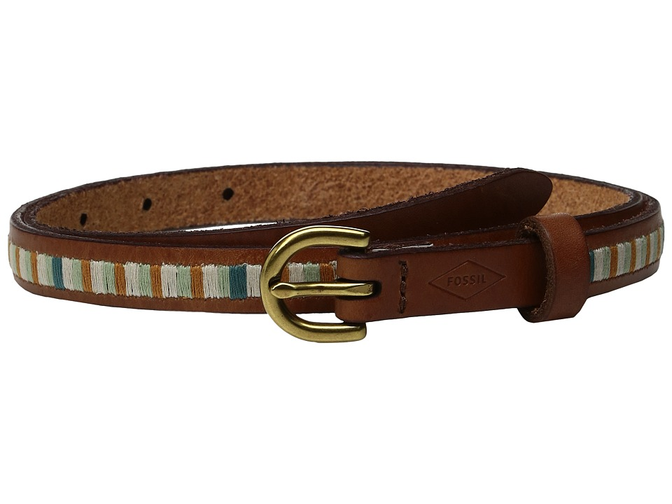 Fossil - Embroidered Stripe Belt (Blue Stripe) Women's Belts