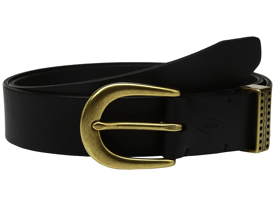 Fossil - Emi Emboss Keeper Belt (Black) Women's Belts