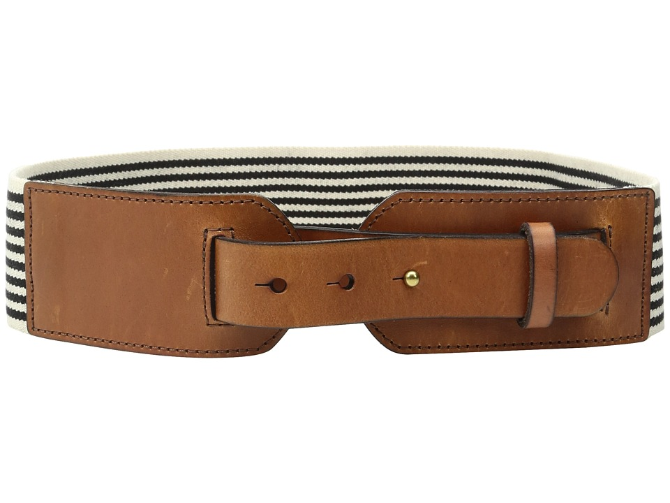 Fossil - Webbing/Leather Waist Belt (Black Stripe) Women's Belts