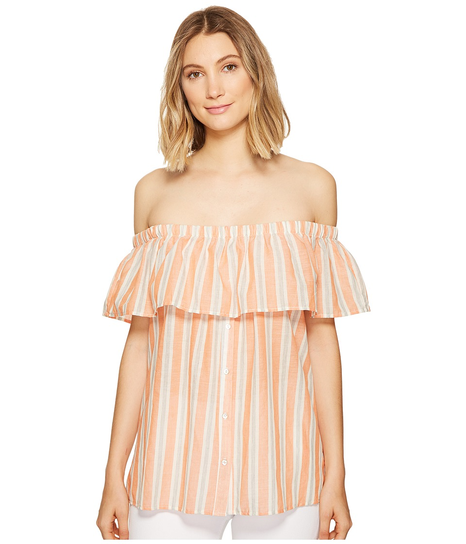 B Collection by Bobeau - Colette Off the Shoulder Blouse (Salmon Stripe) Women's Blouse