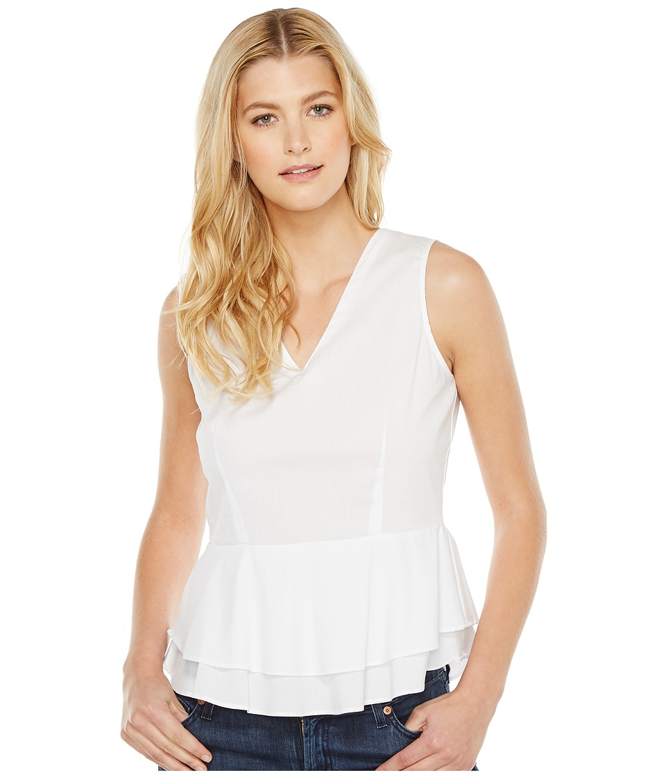 B Collection by Bobeau - Angelina V-Neck Peplum Blouse (White) Women's Blouse