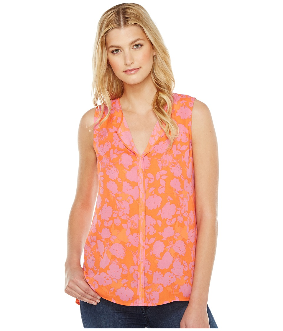 B Collection by Bobeau - Lily Pleat Back Woven Tank Top (Hot Coral Print) Women's T Shirt