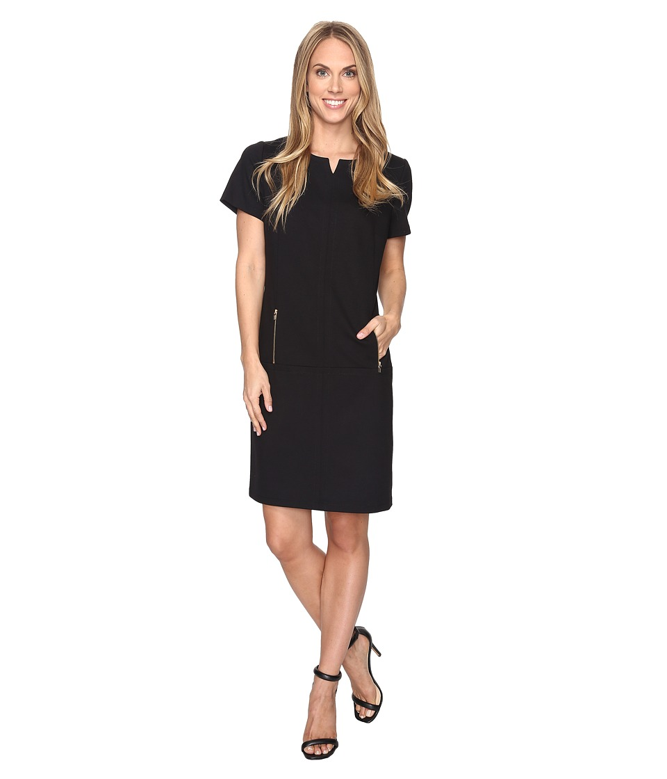 Tahari by ASL - Zipper Accented Shift Dress (Black) Women's Dress
