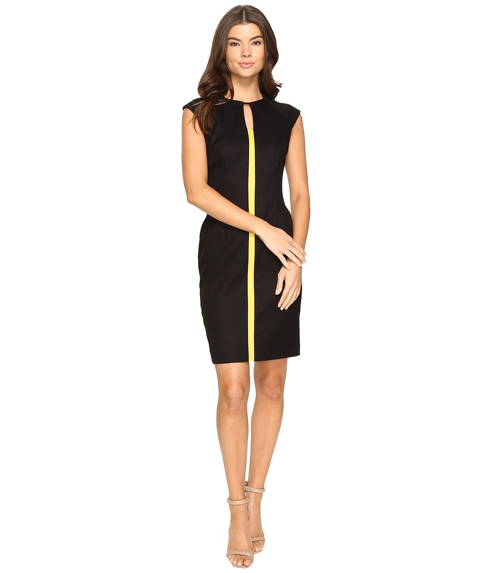 Tahari by ASL - Basket Weave Sheath Dress with Contrast Center Stripe (Black/Goldenrod) Women's Dress