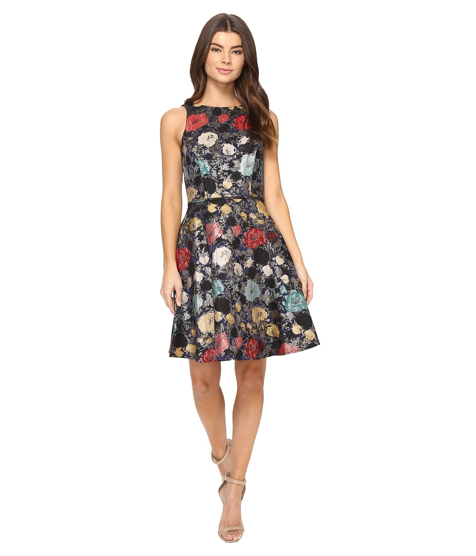 Tahari by ASL - Metallic Floral Jacquard Fit and Flare Dress (Navy/Tomato/Aqua) Women's Dress