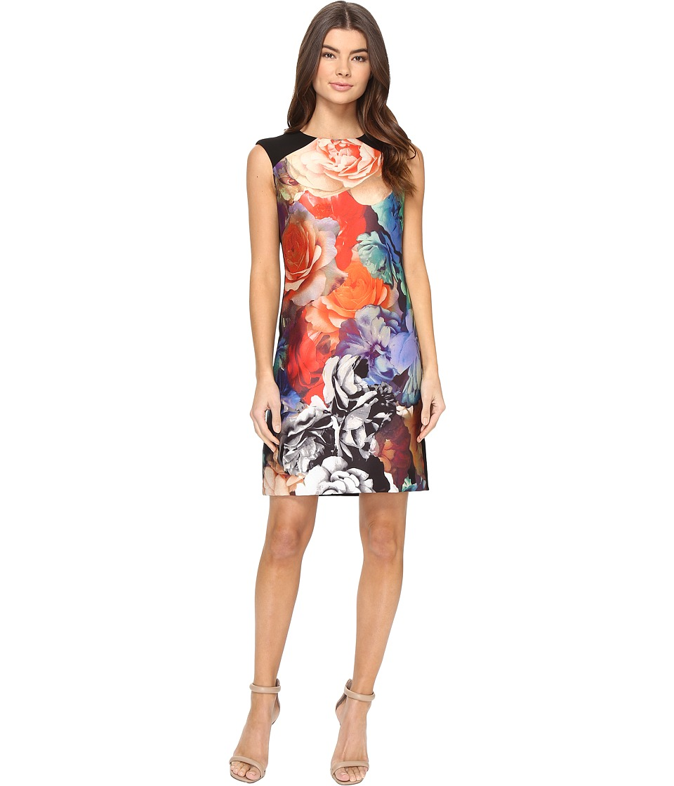 Tahari by ASL - Technicolor Floral Print Sheath Dress (Black/Taupe/Coral) Women's Dress