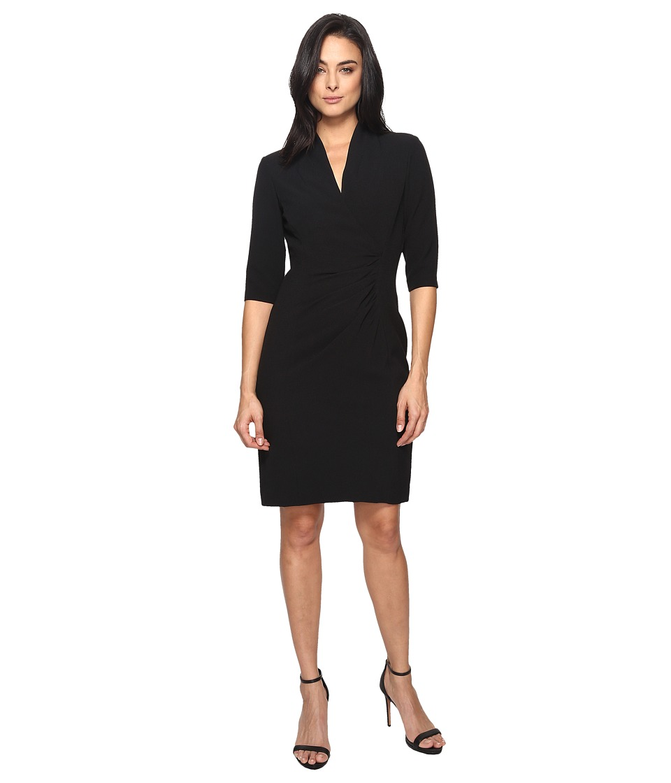 Tahari by ASL - Side Ruche Crepe Sheath Dress (Black) Women's Dress