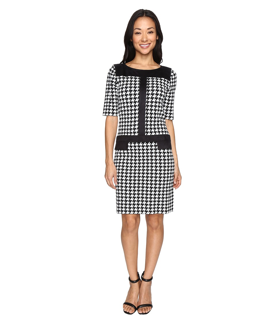 Tahari by ASL - Houndstooth Knit Dress with Suede Trim (Black/Ivory) Women's Dress