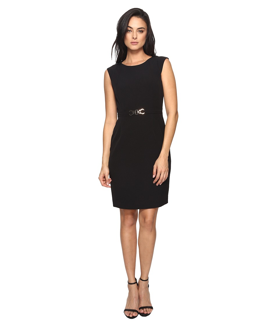 Tahari by ASL Crepe Sheath with Seamed Bodice and Hardware (Black) Women