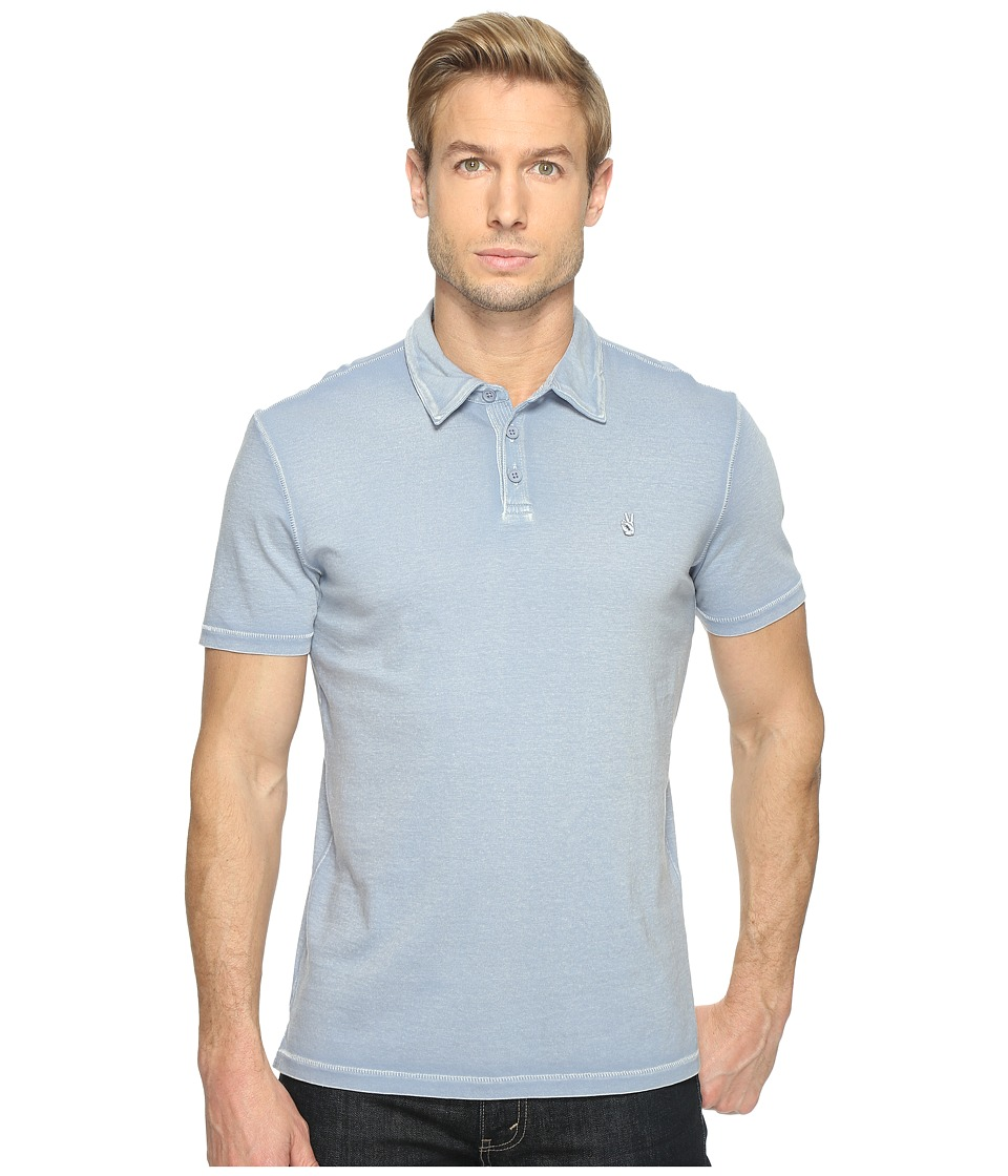 John Varvatos Star U.S.A. - Reverse Print Soft Collar Peace Polo with Peace Sign Chest Embroidery K1381T1B (Steel Blue) Men's Clothing