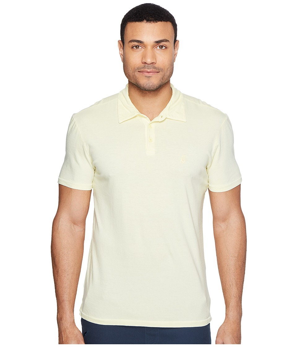 John Varvatos Star U.S.A. - Reverse Print Soft Collar Peace Polo with Peace Sign Chest Embroidery K1381T1B (Lemon) Men's Clothing