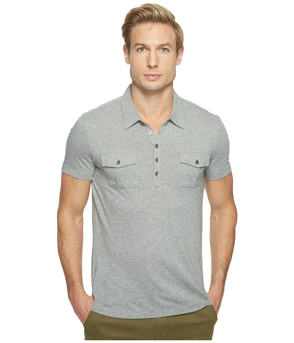John Varvatos Star U.S.A. - Short Sleeve Soft Collar Knit Polo with Elongated Placket and Chest Pockets K2901T1L (Grey Heather) Men's Clothing