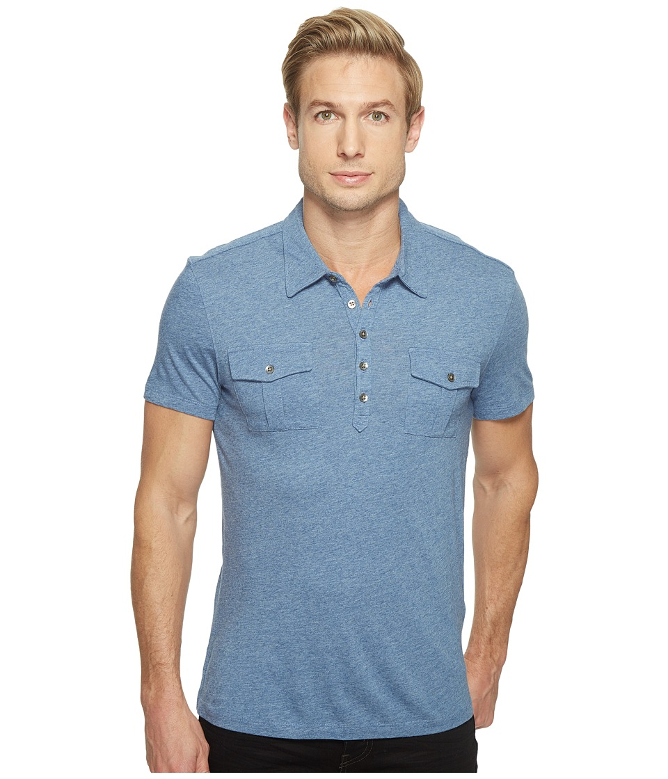 John Varvatos Star U.S.A. - Short Sleeve Soft Collar Knit Polo with Elongated Placket and Chest Pockets K2901T1L (Oiled Blue) Men's Clothing
